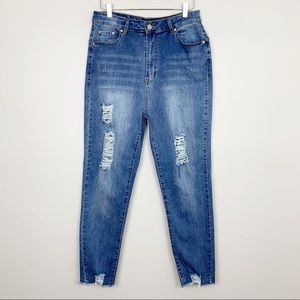 Denim - Bay Breeze Distressed High Waisted Jeans Plus Size